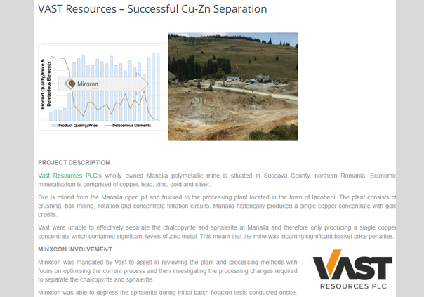 VAST Resources – Successful Cu-Zn Separation